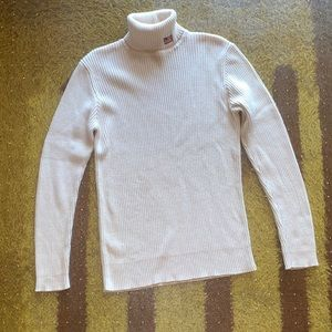 Ralph Lauren Cream Ribbed Turtleneck Sweater